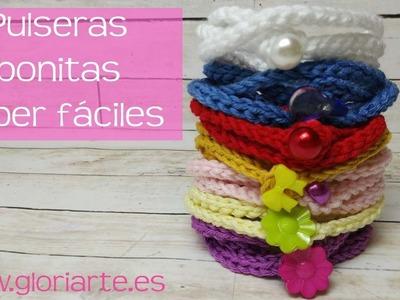 Pulsera súper fácil de ganchillo. Super easy crochet bracelet.