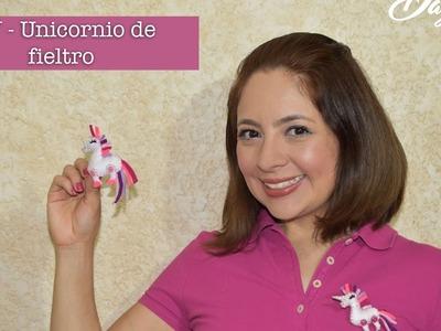 Unicornio fieltro. DIY Unicornio de fieltro. broche de unicornio para el cabello