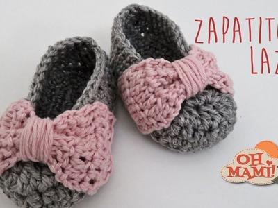 Zapatitos Lazo  a crochet para bebés ( 0 a 3 meses)