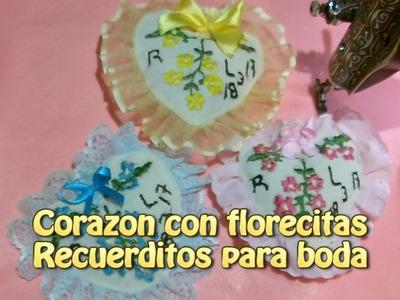 Corazon con florecitas recuerditos para boda |Creaciones y manualidades angeles
