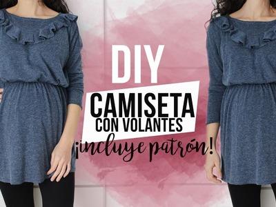 DIY CAMISETA CON VOLANTE | ¡Incluye patrón!