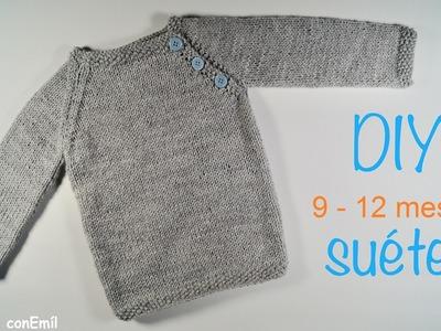 Suéter o Jersey de bebé tejido a dos agujas paso a paso