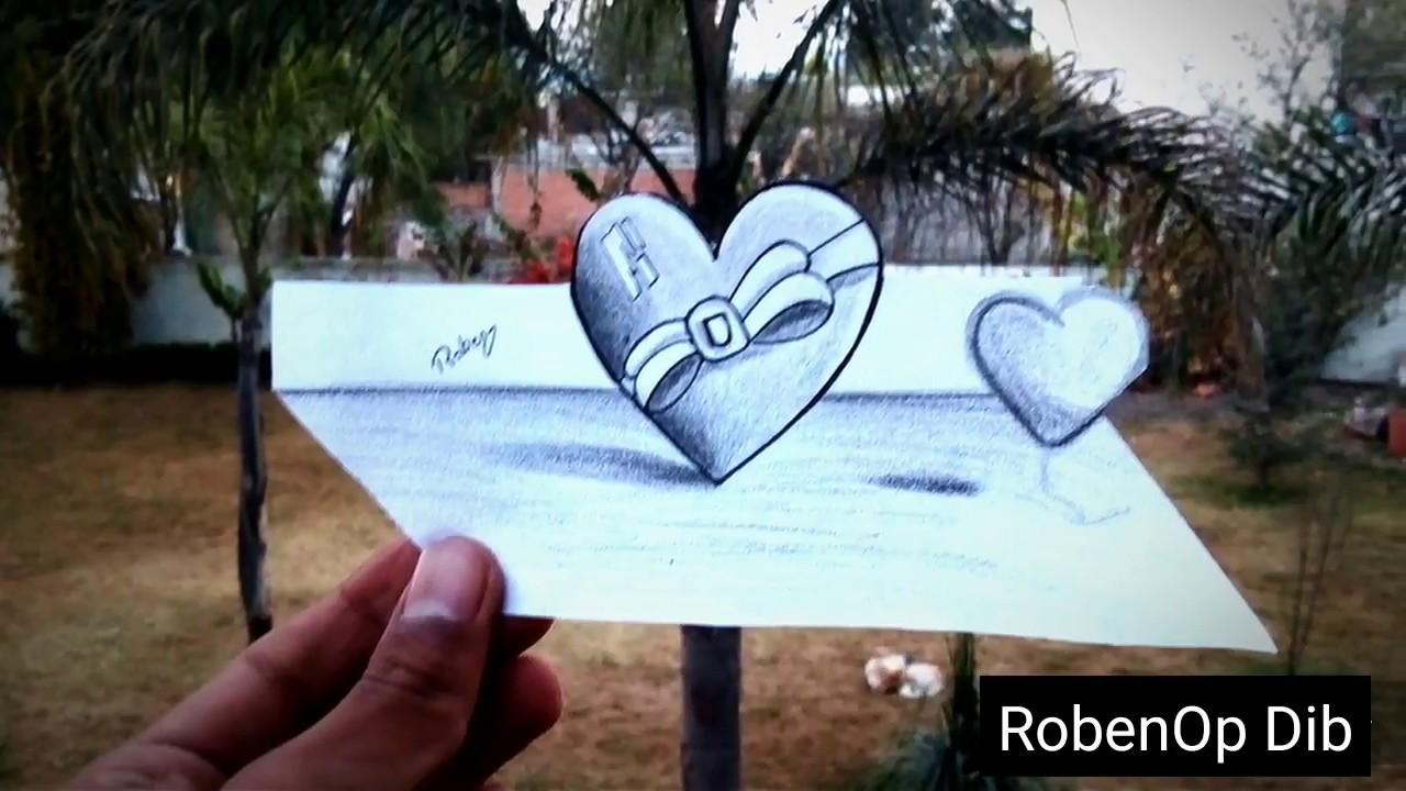 Como Dibujar Un Corazón En 3d Con Lineas: Como Dibujar Corazon 3D Lápiz