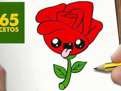 COMO DIBUJAR ROSA KAWAII PASO A PASO - Dibujos kawaii fáciles