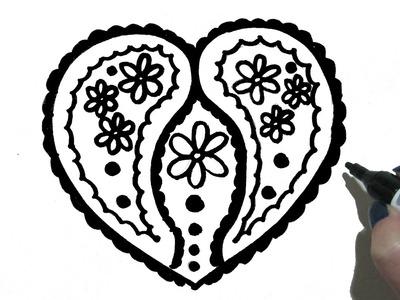 Como Dibujar un Corazon con Flores