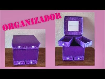Organizador de carton *DIY*  MANUALIDAD DE RECICLAJE