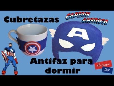 Antifaz para dormir y Cubretazas PLANTILLA GRATIS DIY Capitán America - Regalos originales