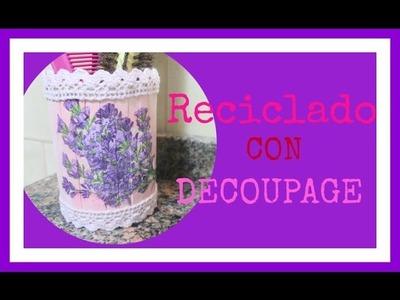 Envase de papitas decorado - Decoupage - Tutorial - DIY - CHALLENGE DE RECICLAJE