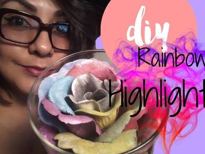Sombra para ojos en forma de rosa.Iluminador de arcoiris|| DIY Rose Higlighter ROSE