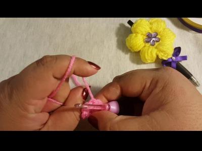 """Como tejer una Flor y Mariposa """"Puff Stitch"""" a Crochet. Parte 2"""