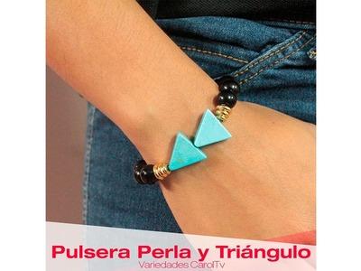 Aprende cómo hacer una Pulsera Perla y Triángulo Turquesa - Variedades y fantasías Carol
