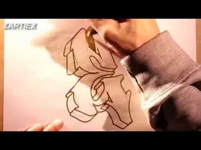 Como dibujar letras 3D de graffitis y tatuajes - Dibujos para pintar y colorear paso a paso