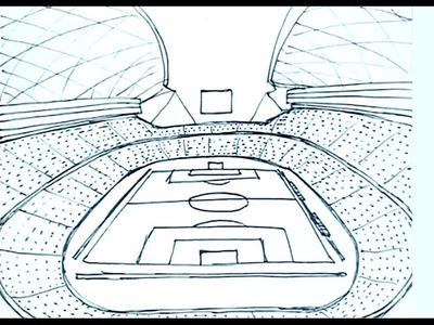 Dibujos de estadios de futbol 1.2 - Cómo dibujar un estadio de futbol - perspectiva