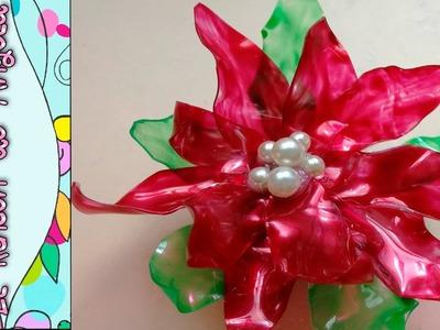 DIY Como hacer una flor de navidad, flor de pascua, pascuero, poinsetia, con pet de refresco