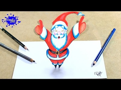 DRAWING A SATAN CLAUS 3D. How to draw santa claus 3D.Como dibujar un papa noel 3D