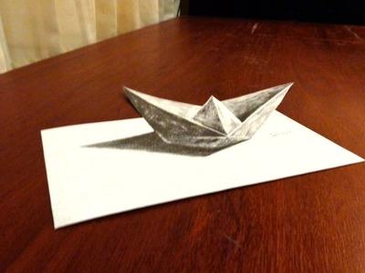 ILUSIÓN ÓPTICA - Barco de papel - Dibujo Anamorfico 3D | Selbor