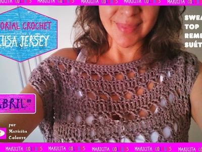 "Blusa, Jersey a Crochet ""Abril""  suéter, Top, Sweater por Maricita Colours Hombro caído"