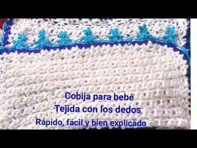 Cobija para bebé tejida con los dedos, tejido crochet
