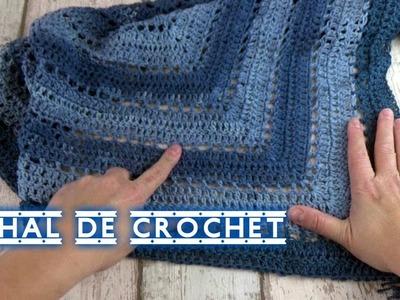 COMO HACER UN CHAL  DE CROCHET TRIANGULAR  FACIL | Crochet shawl
