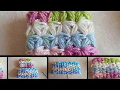 Como. Punto Jazmín en crochet de manera circular paso a paso. punto fantasía