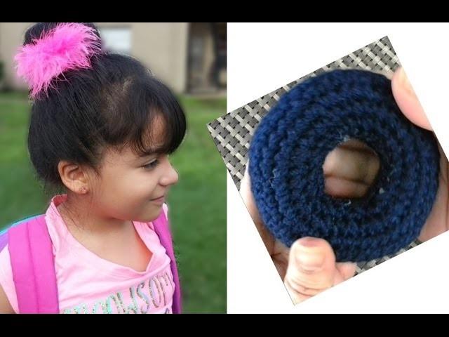 Como tejer una dona moño para tu cabello en Crochet- ENGLISH SUBTITLES