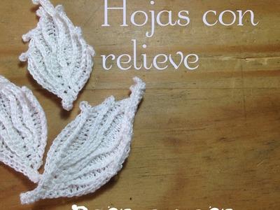 Hoja con relieve paso a paso en español- crochet irlandés