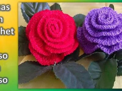 ROSAS en crochet PASO A PASO