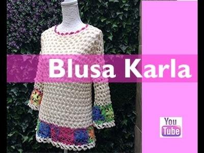 TEJE BLUSA KARLA - Crochet fácil y rápido - Para esta Primavera Verano