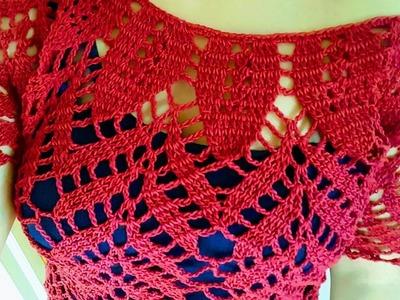 ❤Blusa Fashion en Crochet (ganchillo) con Motivos de Hojas y Espigas a la Talla Deseada *(Parte #1)*