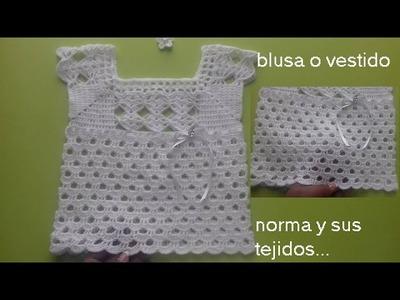 Blusa o vestido a crochet para niña ( 2 a 3 años)