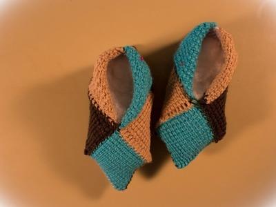 Como hacer pantuflas con restos de lana a crochet.