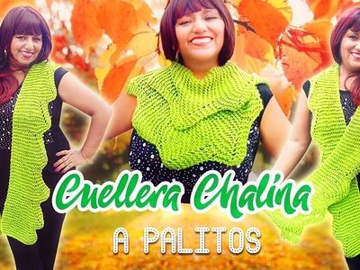 CUELLERA CHALINA CON PUNTAS A PALITOS (Eng Sub). KNITTING SCARF TO STICKS | Canela♥