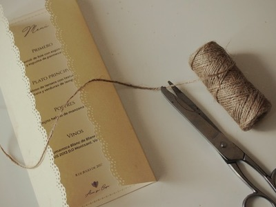 DIY Cómo hacer la carta del menú de boda o minuta