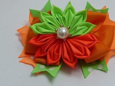 Nuevo diseño de flor dobles  listón gros. video 574,  Flor kanzashi de liston