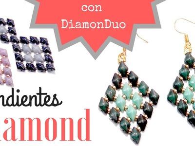 Como hacer unos Pendientes Diamond con cuentas DiamonDuo - Tutorial con plantilla