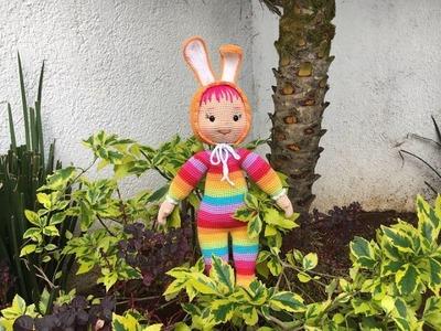Como tejer gorro y orejas coneja muñeca Daniela amigurumi By Petus QUINTA PARTE (5.6)