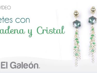 DIY El Galeón Aretes con Cadena y Cristal