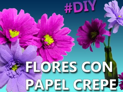 FLORES CON PAPEL CREPE | Manualidades con papel crepe | Manualidades para el 10 de mayo
