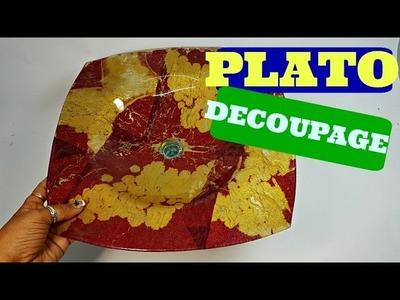 MANUALIDADES. CESTA  PLATO DE CRISTAL Y SERVILLETA EN DECOUPAGE- - DECOUPAGE IN GLASS DISH