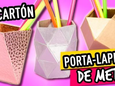 MANUALIDADES para REGRESO A CLASES | Portalapices de CARTON ✂ DE CARTON a METAL - CARTONAJE  Catwalk