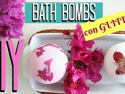 DIY GLITTER BATH BOMBS! BOMBAS DE BAÑO CON BRILLOS!