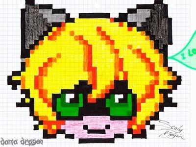Pintando adrien chibi Pixel art con marcadores, colores y crayolas