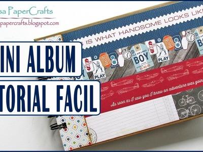 Tutorial Mini Album Scrapbook con Papel de diseño Masculino | Scrapbooking Facil | Luisa PaperCrafts