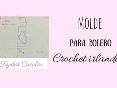 Bolero para boda en crochet irlandés- Molde