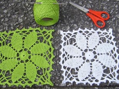 Como tejer posavasos cuadrados crochet paso a paso