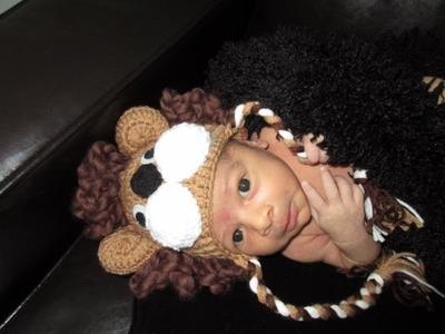Crochet gorro leon para bebé recien nacido para principiantes