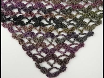 Crochet: Punto Enrejado con Flor en V # 4