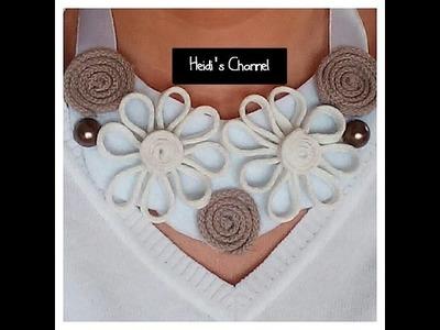 Manualidades: Como hacer un collar babero con cordones. Tutorial.DIY.