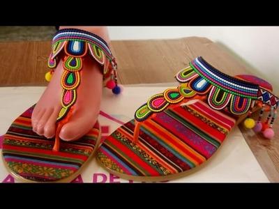 Sandalias tejidas a crochet, sandalias con pompones modelo 2