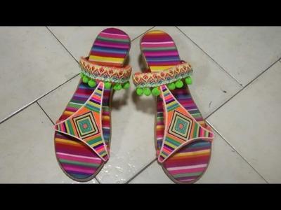 Sandalias tejidas a crochet, sandalias con pompones modelo 1